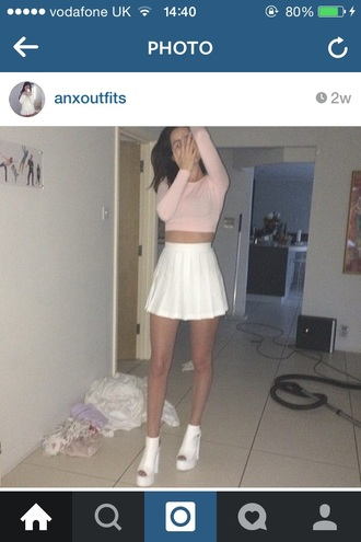 top pink pastel sweater crop cropped american apparel instagram light cute shoes skirt