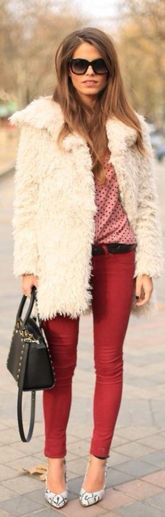 coat fur fur coat jacket white fur fur jacket jeans shirt