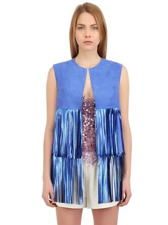 vest suede light blue light blue jacket