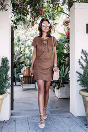 viva luxury,blogger,sunglasses,jewels,bag,suede dress,brown dress,mini dress,nude bag,white heels,dress,cat eye,brown lace up dress,lace up pumps,lace up dress,brown suede dress,faux suede dress,lace-up shoes,bucket bag,lace up flats,lace up detail
