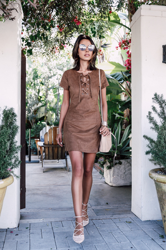 dress cat eye brown lace up dress lace up pumps blogger lace up dress brown suede dress faux suede dress suede dress lace-up shoes bucket bag lace up flats viva luxury lace up detail