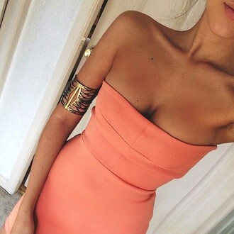 dress peach orange orange dress strapless dress jewels coral coral dress mini dress bodycon i want the same pleaseeeee help me this please summer tan skin strapless tube top dress
