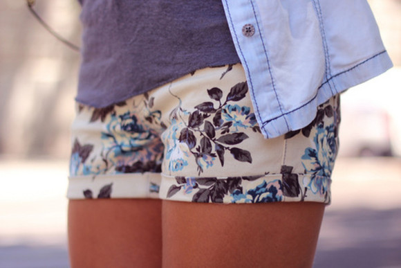 shorts floral blue shorts white shorts summer blue flowers blue hologram
