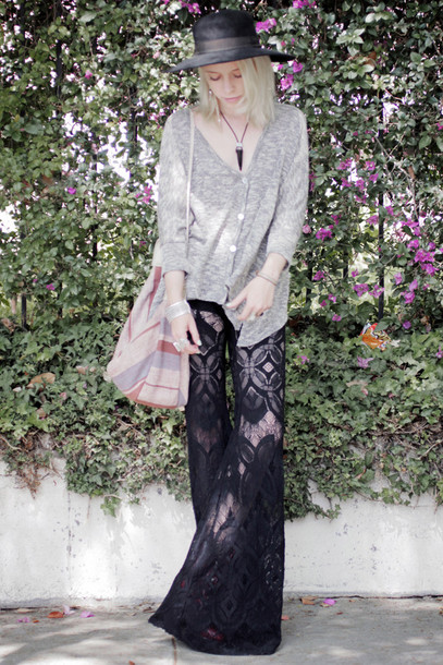 lace jean greige black pants