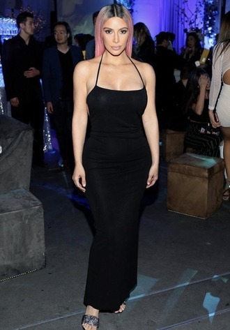dress black dress bodycon dress kim kardashian maxi dress backless backless dress sandals