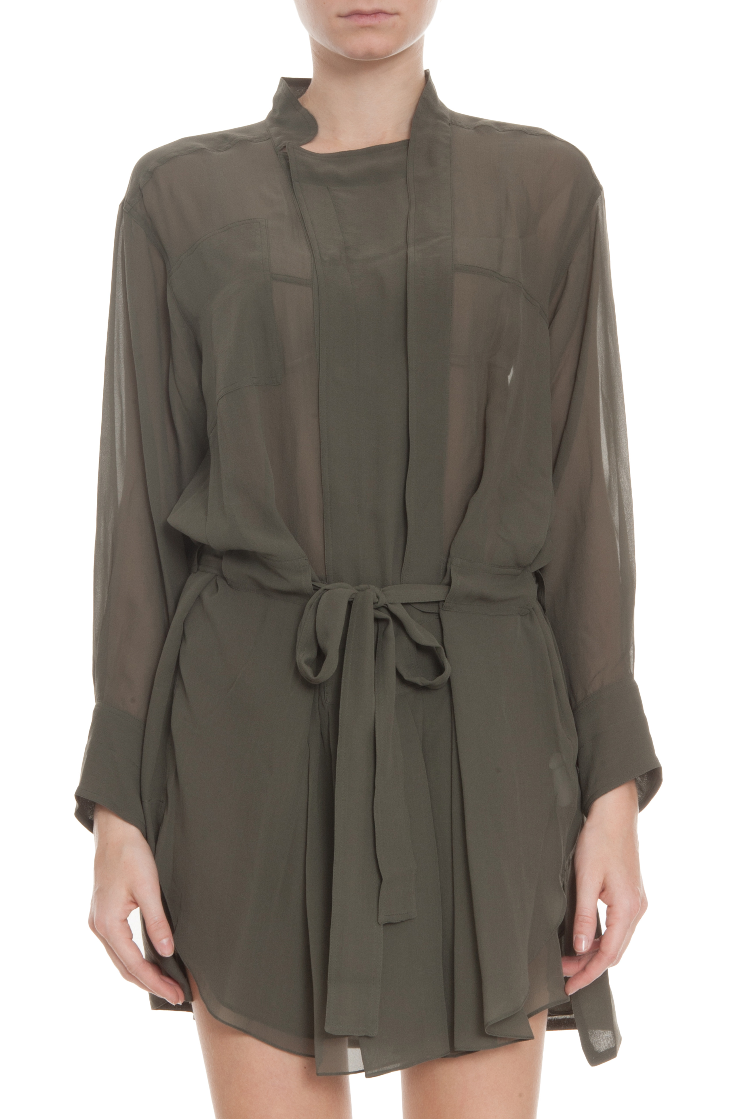 Bronze carla georgette shirt dress