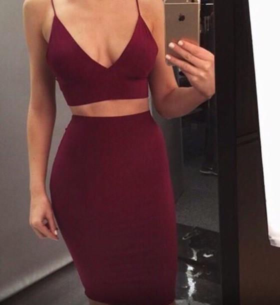 Dress Burgundy Dress Two Piece Two Piece Bodycon