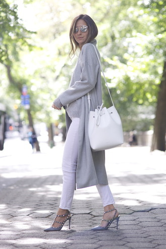 something navy blogger studded shoes long cardigan grey cardigan bucket bag white bag fall outfits valentino rockstud studs studded sandals grey sandals sandal heels high heel sandals slingbacks silver sunglasses sunglasses white jeans