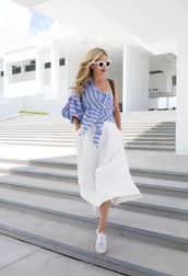 atlantic pacific,blogger,skirt,shoes,sunglasses,bag,one shoulder,stripes,white sunglasses,maxi dress,sneakers,blue shirt,blue top,midi skirt,white skirt,white sneakers,summer outfits,pocket dress,asymmetrical,off the shoulder,striped shirt,stripe shirt