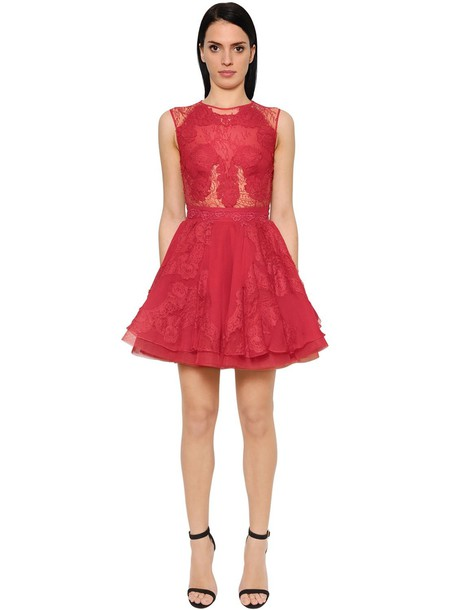 ZUHAIR MURAD Flared Cady & Chiffon Mini Dress in red