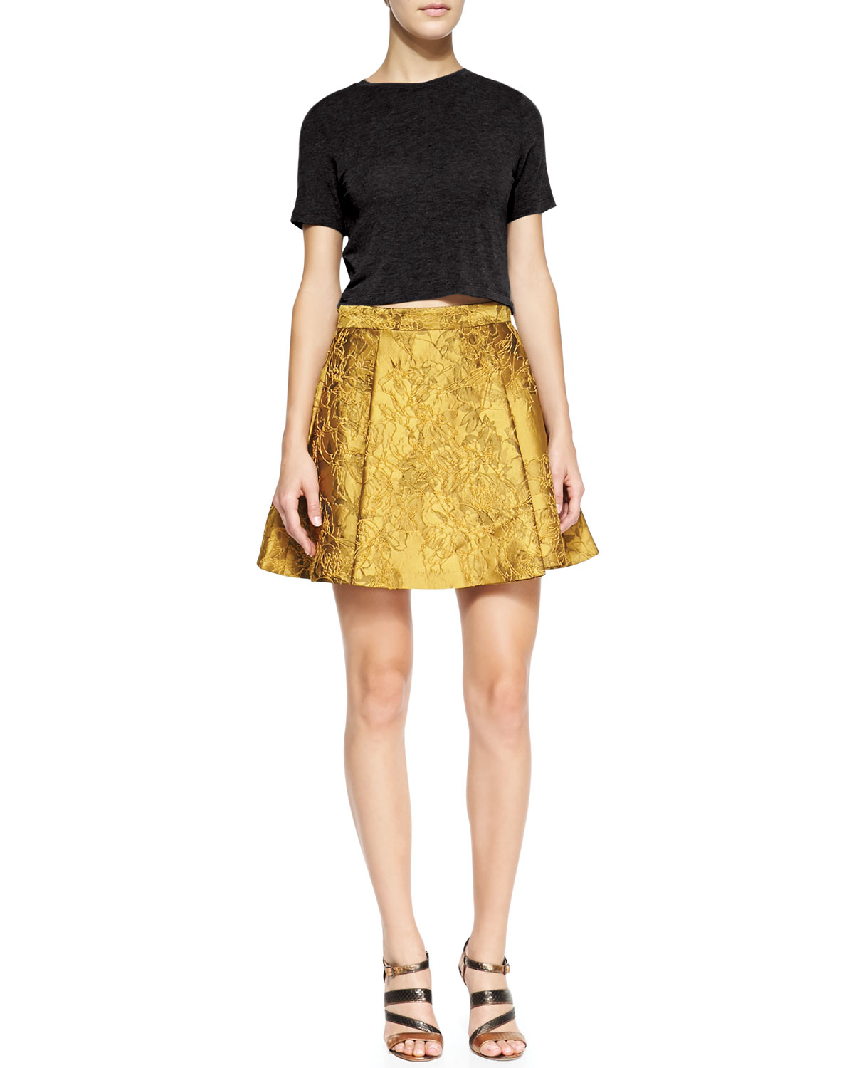 Alice   Olivia Vernon Metallic Jacquard Pleated Skirt