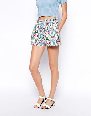 ASOS | ASOS Culotte Shorts in Floral Scuba at ASOS