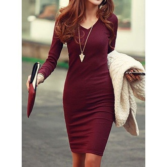 dress bodycon dress long sleeves long sleeve dress maroon/burgundy burgundy dress burgundy fall outfits fashion