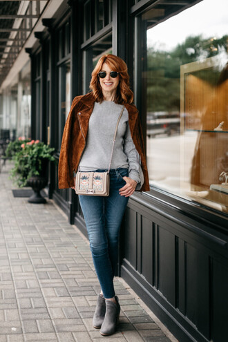 themiddlepage blogger jacket jeans sweater bag shoes crossbody bag brown jacket ankle boots skinny jeans