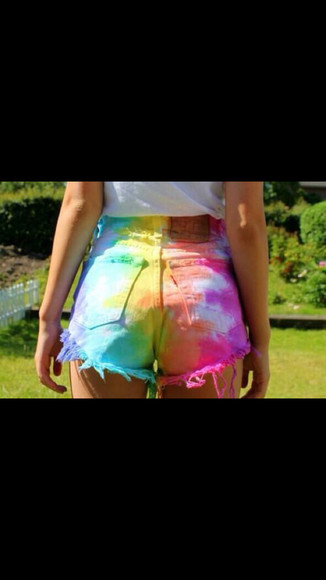 denim shorts High waisted shorts rainbow neon