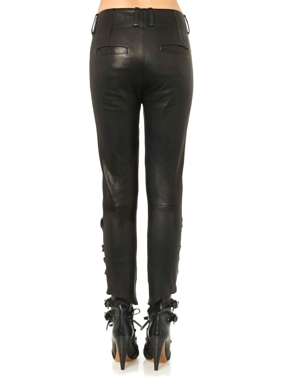 Henley leather trousers
