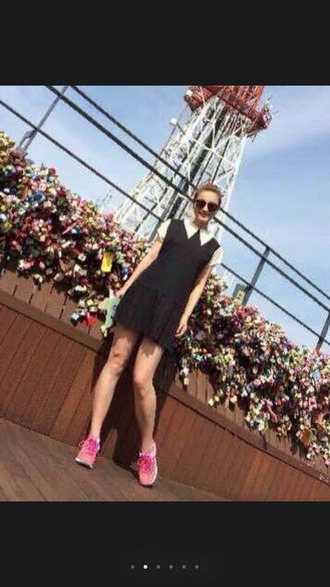 shoes casual shoes pink sneakers black skirt