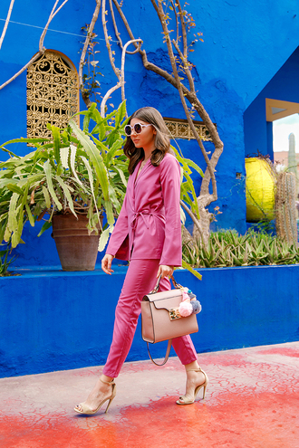bag leather bag leather tote bag tote bag nude bag pink blazer pink pants blazer pants sandal heels sunglasses