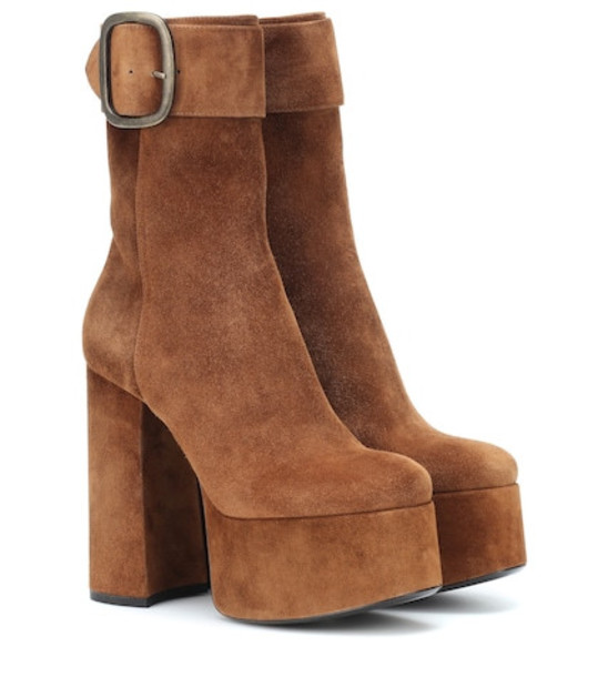 Saint Laurent Billy suede plateau ankle boots in brown