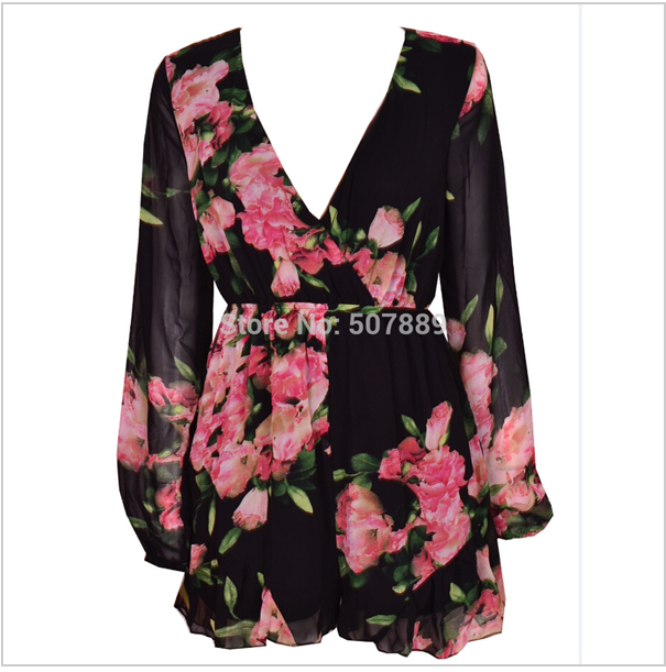 Cute v long sleeve flower jumspuit