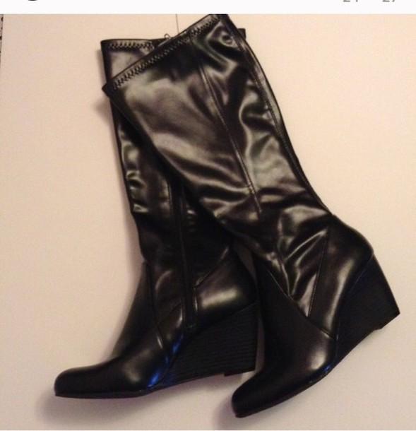 shoes black black faux wedge boots size 6 5 black