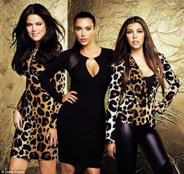 jacket khloe kardashian kim kardashian kourtney kardashian keeping up with the kardashians leopard print black dress blazer gold