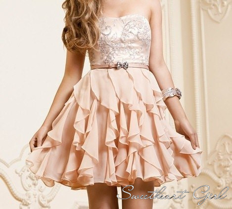 Line chiffon ruffles sweetheart short homecoming dress
