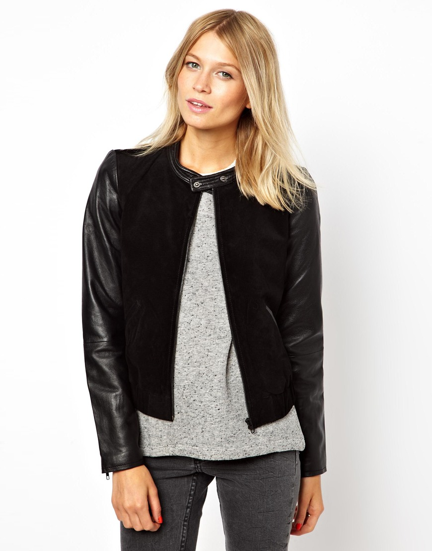 Mango miranda leather sleeve bomber jacket at asos.com
