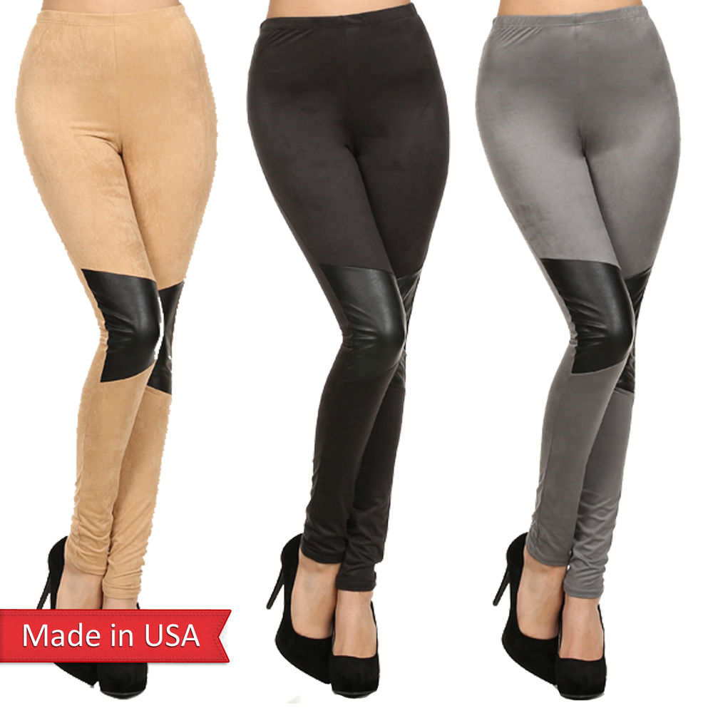 Faux suede leather insert high waist nude black grey leggings tights pants usa