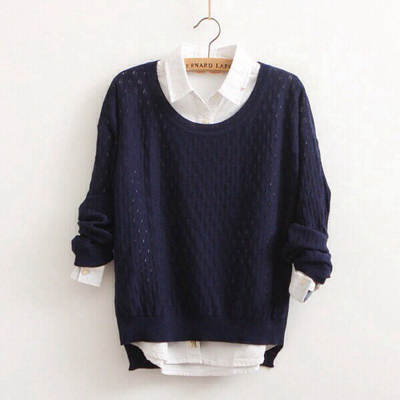 white streetstyle streetwear sweater blouse blue royal blue dark blue fall outfits strick cotton knit sweater preppy