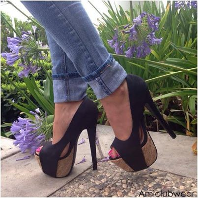 Black Espadrille Platform Pump Heels Faux Leather