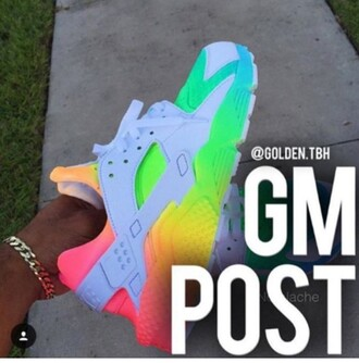 shoes nike nike air force nike air rainbow real or fake cute girly lgbt female women huarache multicolor colorful sports shoes
