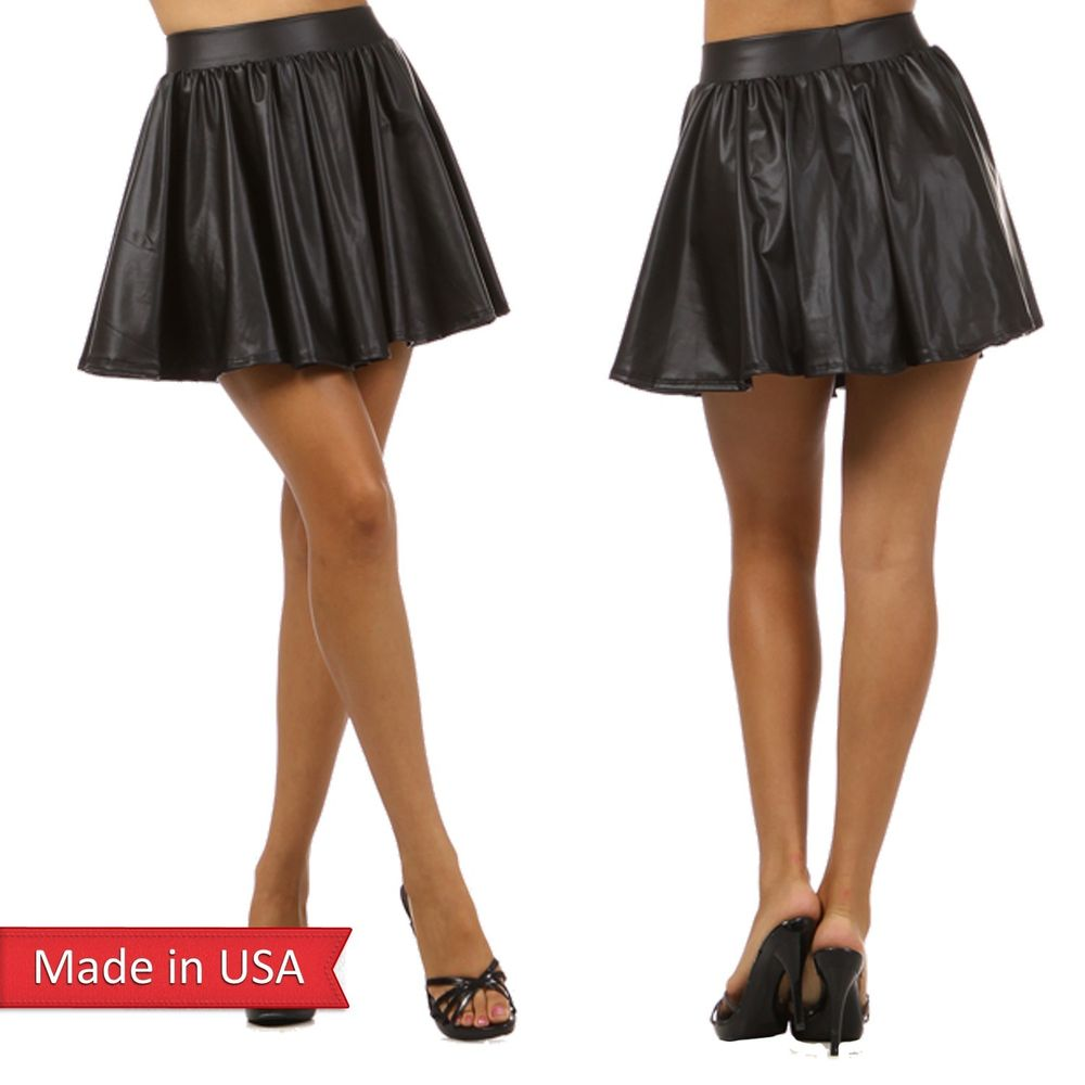 Women Pleather Black Faux Leather High Waist Skater Mini