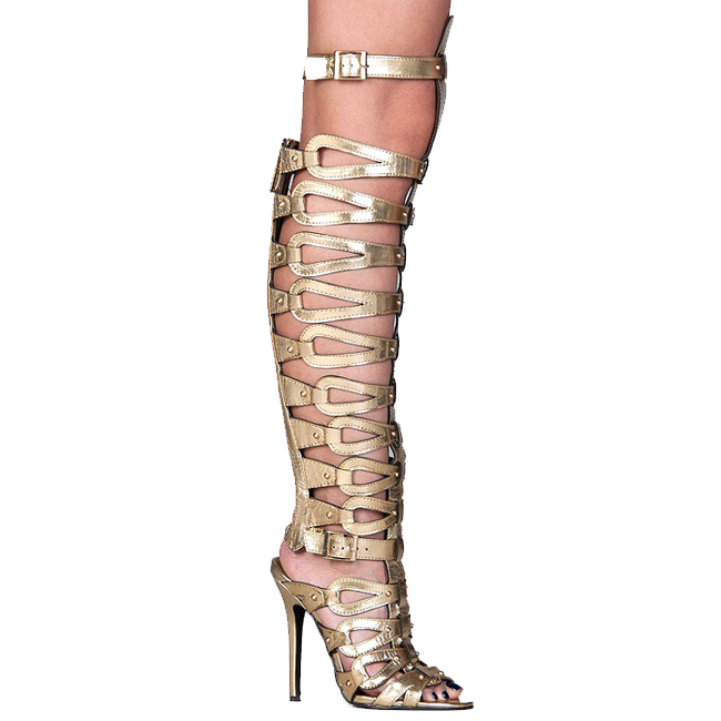 GISELLE Caged Knee High Gladiator Sandal in Gold – FLYJANE