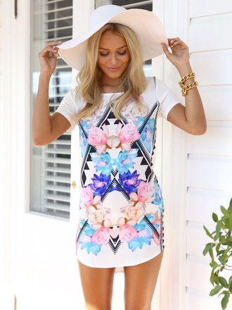 dress hat t-shirt dress floral summer outfits summer tshirt cover up white dress purple flowers blue flowers aztec white floral dres white and flowers dress patterned dress blouse shirt shirt dress romper