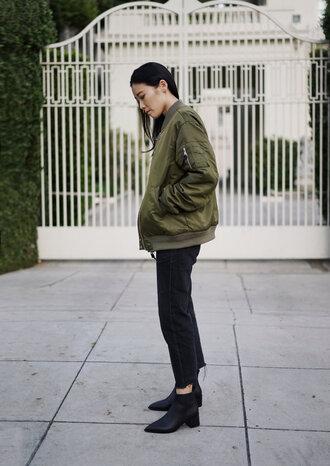 jacket tumblr army green jacket bomber jacket khaki bomber jacket denim jeans black jeans cropped jeans boots black boots ankle boots