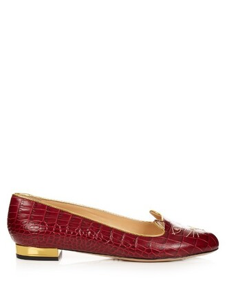 flats leather flats leather crocodile burgundy shoes