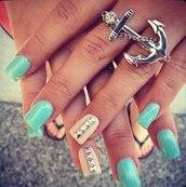 jewels,anchor,ring,nail polish,bag