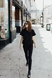 top,ruffled top,tumblr,black top,ruffle,denim,jeans,black jeans,skinny jeans,shoes,slingbacks,all black everything
