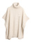 Beige sleeveless turtleneck cape sweater