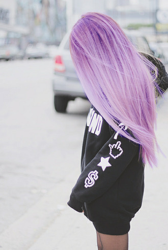 grunge hair dye black pullover sweater jumpsuit stars purple hair tumblr black black sweater money sign middle finger star sign palm tree blouse hairstyles white weheartit pastel hair gloves sweatshirt punk emo jacket