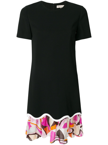 Emilio Pucci dress women spandex scalloped layered black silk