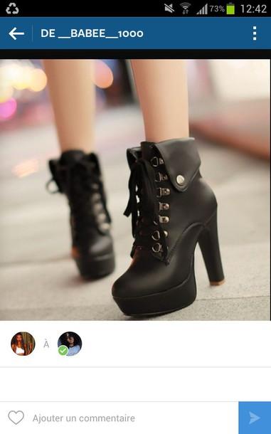 shoes boots black black booties black heels black boot heels