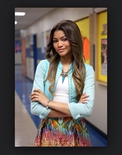 skirt,tribal pattern,orange,zendaya,zapped movie,dressy,casual,lovely