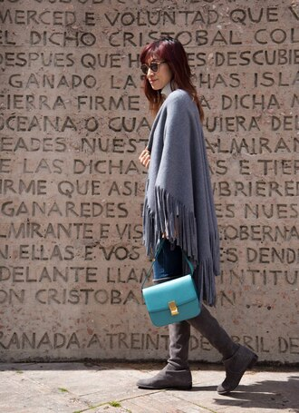 divainme blogger sweater jeans bag shoes blue bag fall outfits boots grey boots