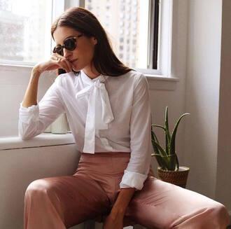 shirt tumblr white shirt sunglasses cat eye pants pink pants pastel pants silk pants high waisted pants blouse white blouse
