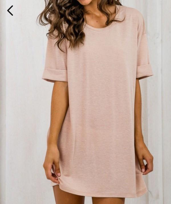 Dress: nude, nude dress, pink, pink dress, t-shirt dress - Wheretoget