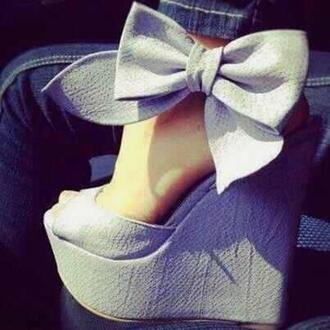 shoes wedges bow ankle strap linen high heels jeans white grey wedges bow high heels penny loves kenny dwight wedges blue bow heels bows