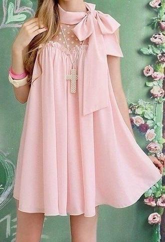 dress pink tie sheer polka dots kawaii kawaii dress pastel goth pastel dress pastel