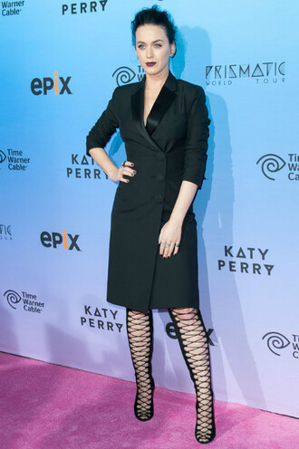 shoes boots katy perry lace up all black everything coat dress dress